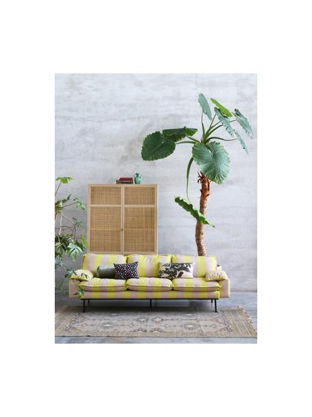 Kledingkast Retro met kledingstang, Frame: Sukai hout, MDF, Handvatten: messing, Zandkleurig, 125 x 200 cm