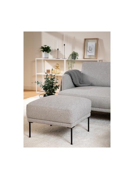 Sofa-Hocker Fluente in Hellgrau mit Metall-Füßen, Bezug: 80% Polyester, 20% Ramie , Gestell: Massives Kiefernholz, Füße: Metall, pulverbeschichtet, Webstoff Hellgrau, 62 x 46 cm