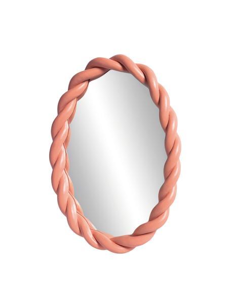 Ovaler Wandspiegel Braid mit rosanem Kunststoffrahmen, Rahmen: Polyresin, Spiegelfläche: Spiegelglas, Altrosa, 26 x 35 cm