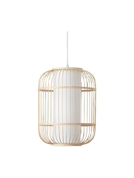 Lampada a sospensione in bambù Bones, Paralume: bambù, Baldacchino: metallo rivestito, Marrone chiaro, bianco, Ø 30 x Alt. 40 cm