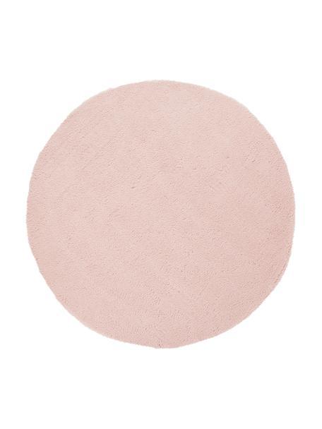 Pluizig rond hoogpoolig vloerkleed Leighton in roze, Bovenzijde: 100% polyester (microveze, Onderzijde: 100% polyester, Roze, Ø 120 cm (maat S)