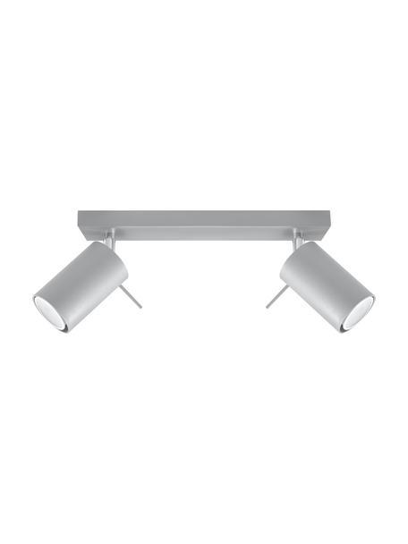 Faretti da soffitto grigi Etna, Paralume: acciaio verniciato, Baldacchino: acciaio verniciato, Grigio, Larg. 30 x Alt. 15 cm