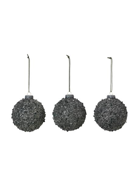 Kerstballen Glitter, 3 stuks, Glas, Zwart, Ø 8 cm