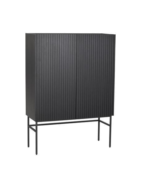 Highboard Halifax met geribde voorzijde in zwart, Frame: MDF met eikenhoutfineer, Poten: gepoedercoat metaal, Handvatten: geborsteld gelakt metaal, Zwart, 100 x 140 cm