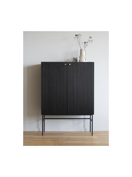 Dressoir Halifax met groefstructuur in zwart, Frame: MDF met eikenhoutfineer, Poten: gepoedercoat metaal, Handvatten: geborsteld gelakt metaal, Zwart, 100 x 140 cm