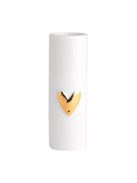 XS porseleinen vazen Heart, 2 stuks, Porselein, Wit, goudkleurig, Ø 3 x H 9 cm