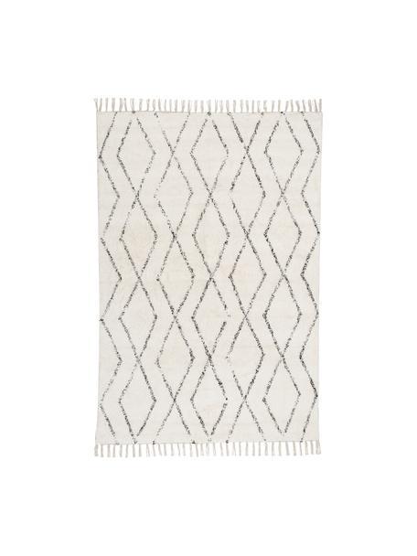 Handgewebter Teppich Berber mit Fransen, 100% Baumwolle, Grau, Cremeweiß, B 140 x L 200 cm (Größe S)