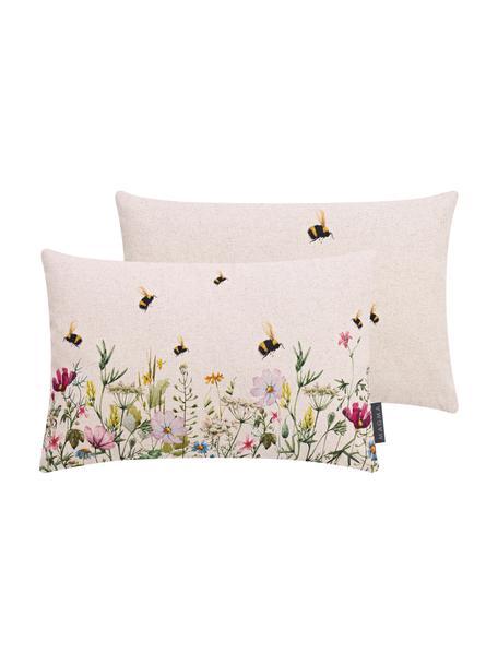 Dubbelzijdige kussenhoes Biene & Co met zomers motief, 85% linnen, 15% katoen, Beige, multicolour, 30 x 50 cm