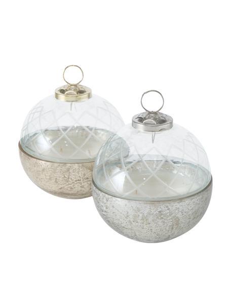 Velas perfumadas Ceres (madera de cedro), 2uds., Vidrio, Dorado, plateado, transparente, Ø 10 cm