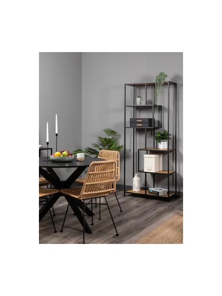 Libreria in legno e metallo Seaford, Ripiani: pannello di fibra a media, Struttura: metallo verniciato a polv, Quercia selvatica, nero, Larg. 77 x Alt. 185 cm
