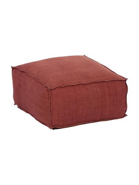 Handgefertigtes Leinen-Bodenkissen Saffron, Bezug: 100% Leinen, Unterseite: Baumwolle, Rostrot, 50 x 25 cm