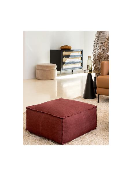 Cojín de suelo artesanal de lino Saffron, Funda: 100%lino, Interior: 100%algodón, Rojo cobrizo, An 50 x Al 25 cm