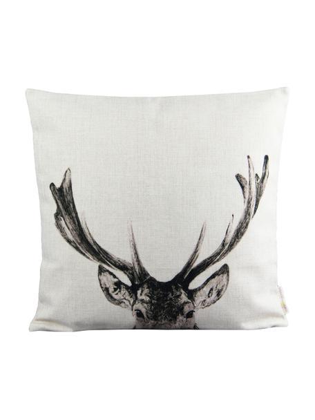 Linnen kussenhoes Reindeer in wit/zwart, Linnen, Gebroken wit, zwart, 45 x 45 cm
