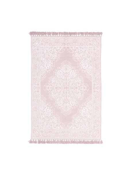 Gemusterter Baumwollteppich Salima mit Quasten, handgewebt, 100% Baumwolle, Rosa, Cremeweiss, B 50 x L 80 cm (Grösse XXS)