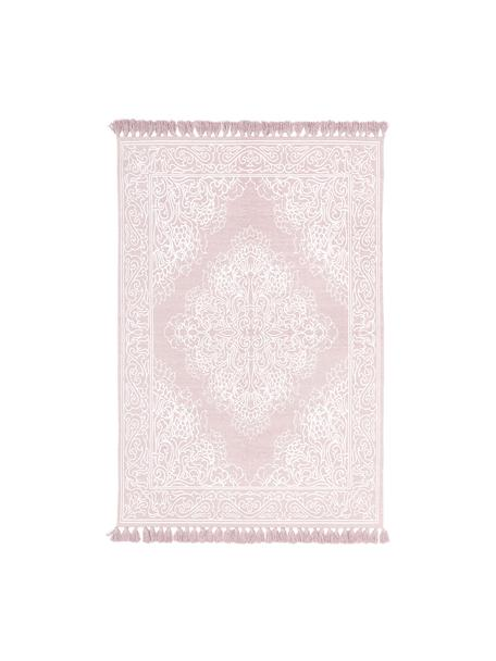 Handgeweven katoenen vloerkleed met patroon Salima met kwastjes, 100% katoen, Roze, crèmewit, B 50 x L 80 cm (maat XXS)