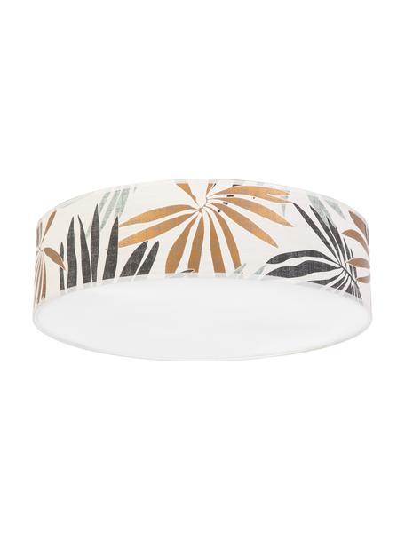 Plafondlamp Hoja met jungle print, Lampenkap: papier, Diffuser: kunststof, Beige, groen, Ø 58 x H 14 cm