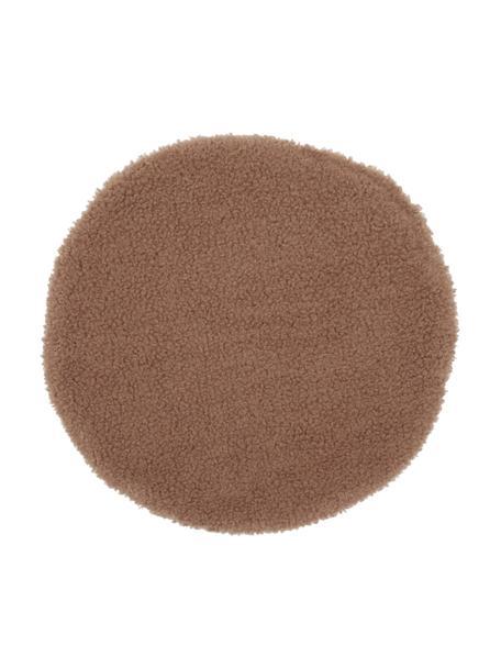 Runde Teddy-Sitzauflage Mille, Vorderseite: 100% Polyester (Teddyfell, Rückseite: 100% Polyester, Braun, Ø 37 cm