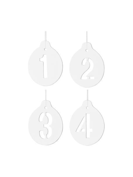 Geschenk-Anhänger Advent H 9 cm, 4 Stück, Keramik, Weiß, 7 x 9 cm