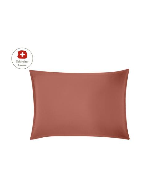 Gewaschener Leinen-Kissenbezug Nature in Terrakotta, 50 x 70 cm, Halbleinen (52% Leinen, 48% Baumwolle) Fadendichte 108 TC, Standard Qualität Halbleinen hat von Natur aus einen kernigen Griff und einen natürlichen Knitterlook, der durch den Stonewash-Effekt verstärkt wird. Es absorbiert bis zu 35% Luftfeuchtigkeit, trocknet sehr schnell und wirkt in Sommernächten angenehm kühlend. Die hohe Reissfestigkeit macht Halbleinen scheuerfest und strapazierfähig., Terrakotta, 50 x 70 cm