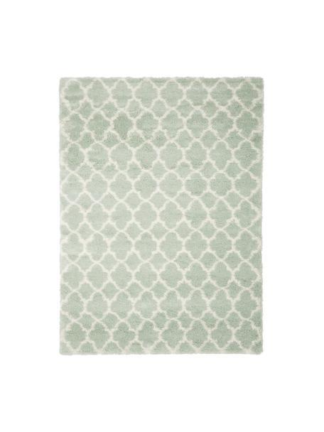 Hochflor-Teppich Mona in Mintgrün/Creme, Flor: 100% Polypropylen, Mintgrün, Cremeweiß, B 300 x L 400 cm (Größe XL)
