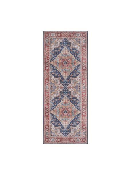 Chodnik w stylu vintage Sylla, 100% poliester, Niebieski, czerwony, S 80 x D 200 cm