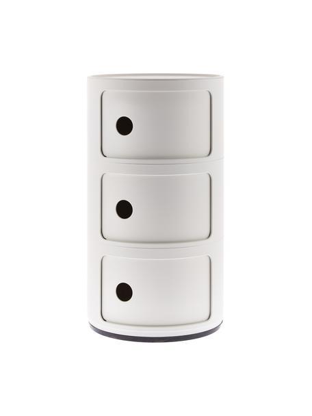 Comodino di design con 3 cassetti Componibile, Materiale sintetico (ABS), verniciato, Bianco opaco, Ø 32 x Alt. 59 cm