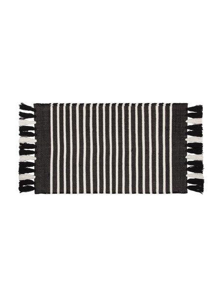 Dywanik łazienkowy z frędzlami Stripes & Structure, 100% bawełna, Antracytowy, złamana biel, S 60 x D 100 cm