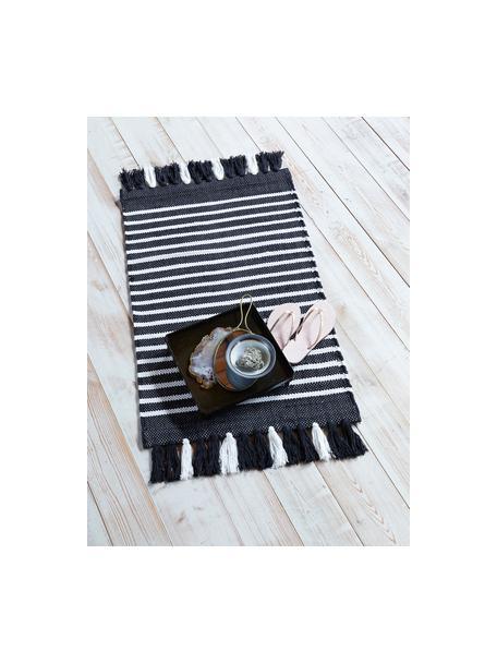 Gestreepte badmat Stripes & Structure met franjes, 100% katoen, Antraciet, gebroken wit, 60 x 100 cm