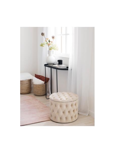 Pouf contenitore in velluto Chiara, Rivestimento: velluto (poliestere) Il r, Bianco crema, Ø 50 x Alt. 40 cm
