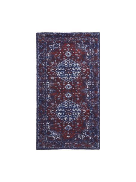 Tappeto vintage in nylon e cotone Elegant, Retro: 100% cotone, Rosso, blu, Larg. 80 x Lung. 150 cm (taglia XS)