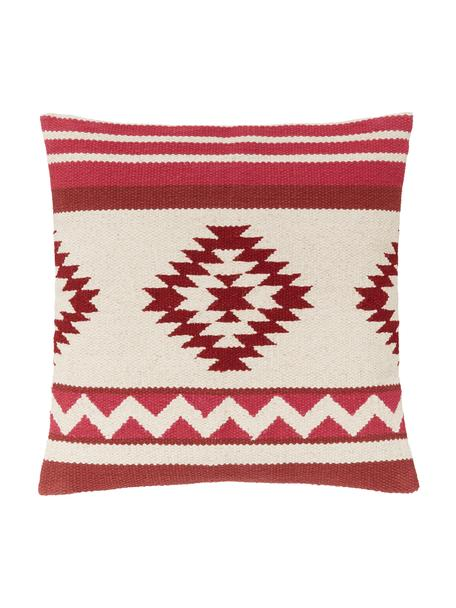 Funda de cojín Tuca, estilo étnico, 100%algodón, Beige, rojo claro, rojo oscuro, An 45 x L 45 cm