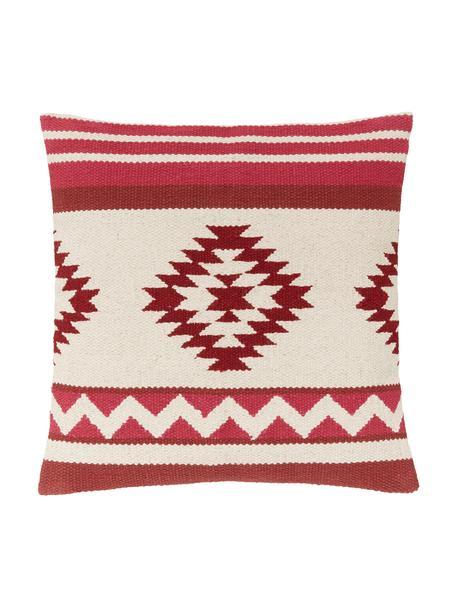Geweven kussenhoes Tuca met etnisch patroon, 100% katoen, Beige, lichtrood, donkerrood, 45 x 45 cm