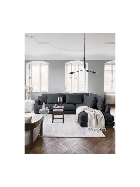 Grote hoekbank Tribeca in antraciet, Bekleding: 100% polyester, Frame: massief beukenhout, Poten: massief gelakt beukenhout, Stof antraciet, B 274 x D 192 cm