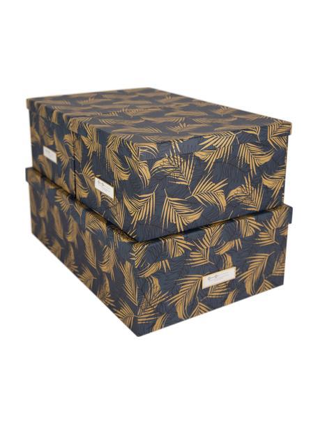 Aufbewahrungsboxen-Set Inge, 3-tlg., Box: Fester, laminierter Karto, Goldfarben, Graublau, Set mit verschiedenen Grössen
