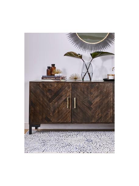 Dressoir Leif met deuren van massief mangohout, Frame: massief gelakt mangohout, Handvatten: gegalvaniseerd metaal, Poten: gepoedercoat metaal, Mangohout, 177 x 75 cm