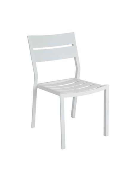 Krzesło ogrodowe do układania w stos Delia, Aluminium malowane proszkowo, Biały, S 48 x G 55 cm