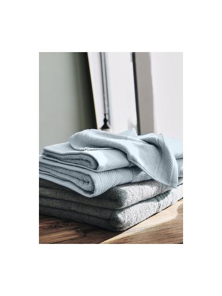 Asciugamano in varie dimensioni con bordo decorativo classico Premium, Azzurro, Larg. 30 x Lung. 30 cm
