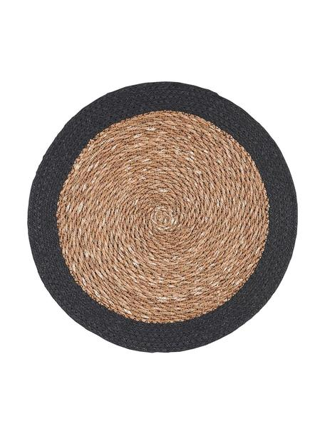 Ronde placemats Sauvage, 2 stuks, Zeegras, jute, Beige, zwart, Ø 38 cm