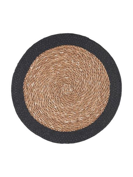 Runde Seegras-Tischsets Sauvage, 2 Stück, Seegras, Jute, Beige, Schwarz, Ø 38 cm