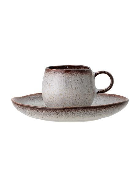 Handgemaakt espressokopje met schoteltje Sandrine in beige, Keramiek, Beigetinten, Ø 7 cm x H 6 cm
