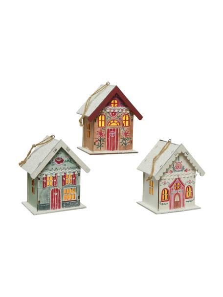 Set 3 oggetti luminosi a LED a batteria Winter House, Legno rivestito, Multicolore, Larg. 11 x Alt. 13 cm