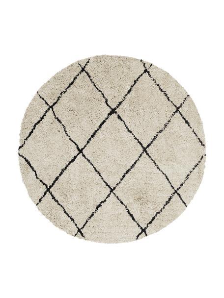Okrągły puszysty ręcznie tuftowany dywan z wysokim stosem Naima, Beżowy, czarny, Ø 140 cm (Rozmiar M)