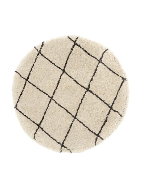 Tappeto rotondo morbido a pelo lungo taftato a mano Naima, Retro: 100% cotone, Beige, nero, Ø 140 cm (taglia M)