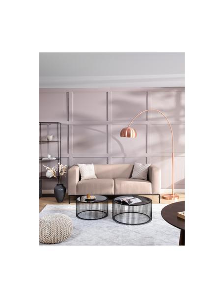 Sofa Carrie (3-Sitzer) in Altrosa mit Metall-Füssen, Bezug: Polyester 50.000 Scheuert, Gestell: Spanholz, Hartfaserplatte, Webstoff Altrosa, B 202 x T 86 cm