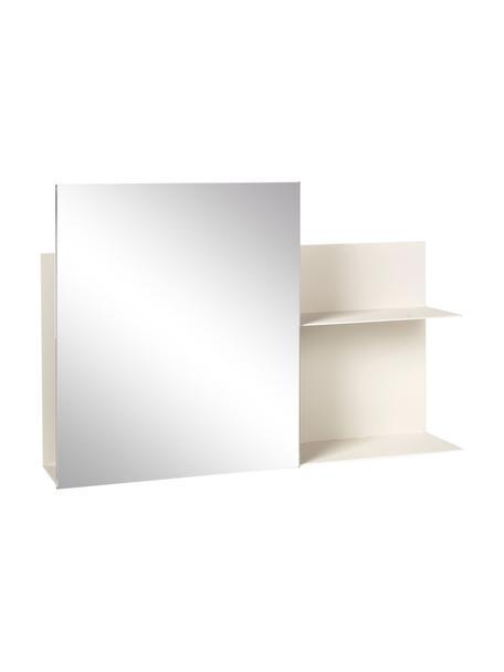 Metall-Wandregal Svante mit Spiegel in Creme, Spiegelfläche: Spiegelglas, Creme, 51 x 25 cm