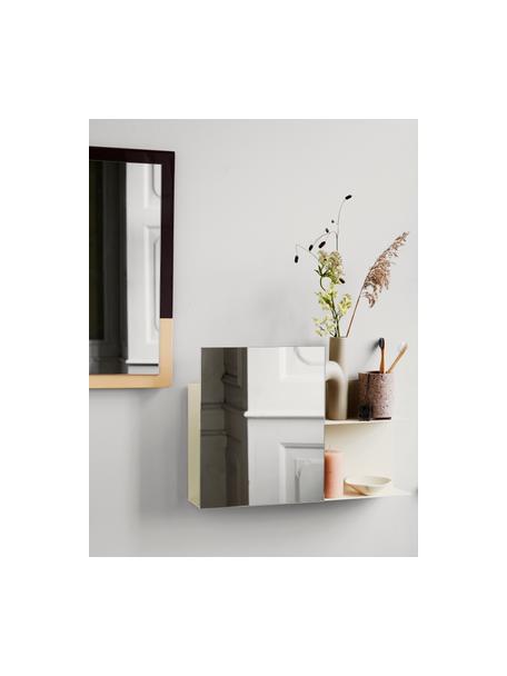 Mensola a muro con specchio Svante, Ripiano: metallo verniciato a polv, Superficie dello specchio: lastra di vetro, Crema, Larg. 51 x Alt. 25 cm