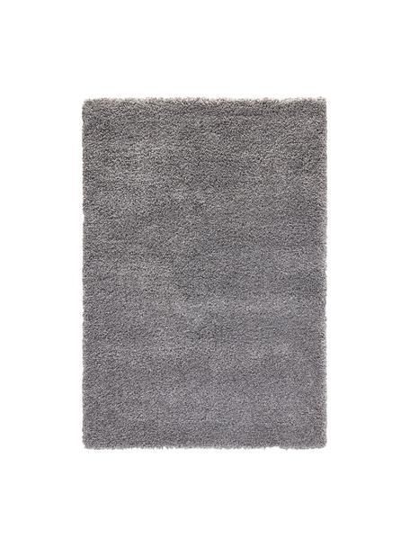 Pluizig hoogpolig vloerkleed Venice in grijs, Bovenzijde: polypropyleen, Onderzijde: jute, Grijs, B 80 x L 150 cm (maat XS)