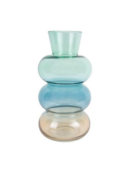Vaso di design in vetro soffiato Winter Dream, Vetro, Marrone, blu, verde, Ø 14 x Alt. 28 cm