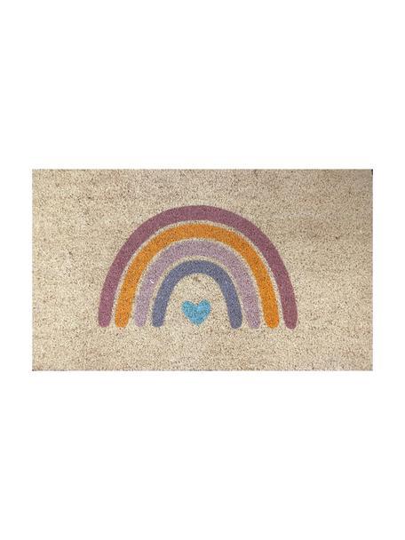 Deurmat Rainbow, Bovenzijde: kokosvezels, Onderzijde: vinyl, Beige, lila, oranje, blauw, 45 x 75 cm