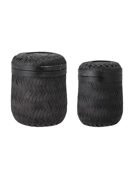 Bambus-Aufbewahrungskörbe-Set Jun, 2-tlg., Bambus, Schwarz, Set mit verschiedenen Größen